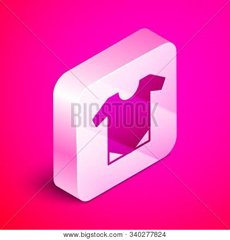Isometric Baby Onesie Icon Isolated On Pink Background. Baby Clothes Symbol. Kid Wear Sign. Silver S