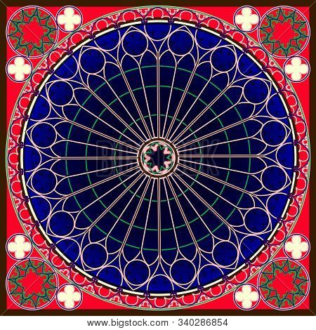 Blue And Red Abstract Lace Background, Square Geometric Pattern With Decorative Frame. Bandana Tissu