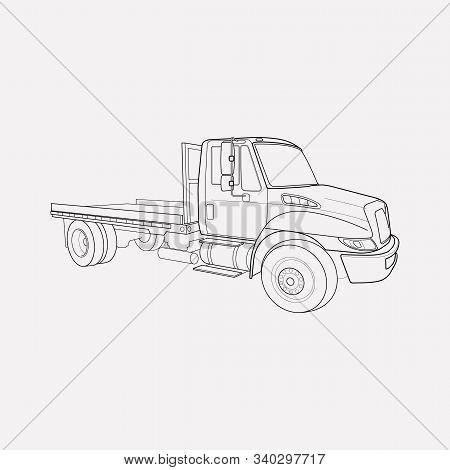Flatbed Truck Icon Line Element. Vector Illustration Of Flatbed Truck Icon Line Isolated On Clean Ba