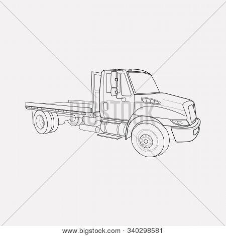 Flatbed Truck Icon Line Element. Illustration Of Flatbed Truck Icon Line Isolated On Clean Backgroun