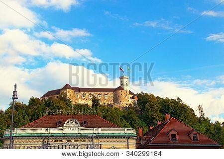 Ljubljana, Slovenia-september 29, 2019: Red Tile Roof Of The Slovenian Philharmonic. Medieval Ljublj