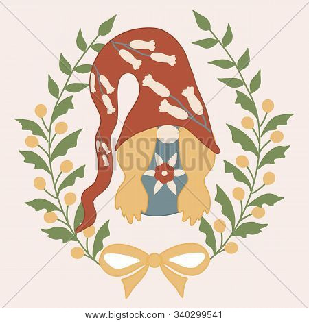 Vector Illustration With Gnome And Flower Wreath