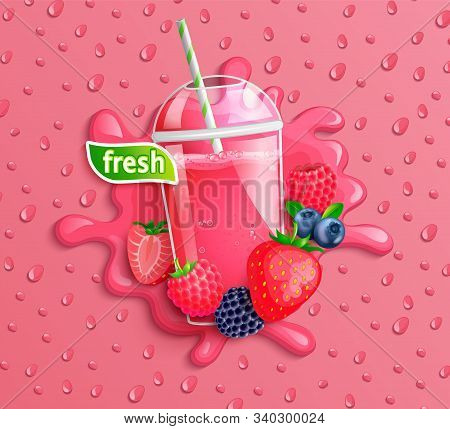 Fresh Berry Blend Juice With Slice Berries, Splash And Apteitic Drops On Background.strawberries, Bl