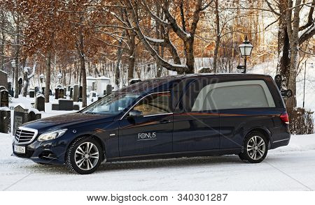 Umea, Norrland Sweden - December 9, 2019: A Funeral Car Outside The Church