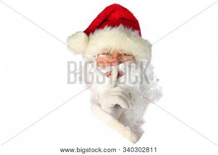 Santa Claus Head. Christmas Santa Claus Head Isolated on white. Room for text. Clipping path. Santa Claus brings gifts to good boys and girls world wide on Christmas Eve. Merry Christmas. Ho Ho Ho.