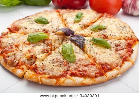 Sliced pizza margarita