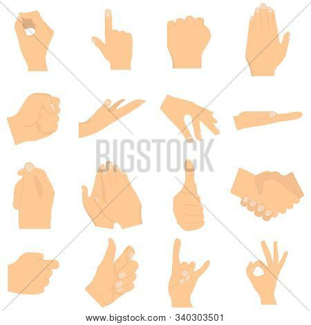 Gesturing Hands. Signs And Hand Gestures. Shaking Hands, Clapping, Thumb Up, Index Finger, Rock And