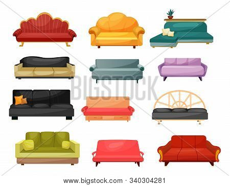 Sofa And Lounge Couch, Vector Flat Icons Of Home Furniture. Modern And Classic Vintage Upholstery So
