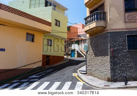 Small Street And Crossing In Candelaria, Tenerife, Spain