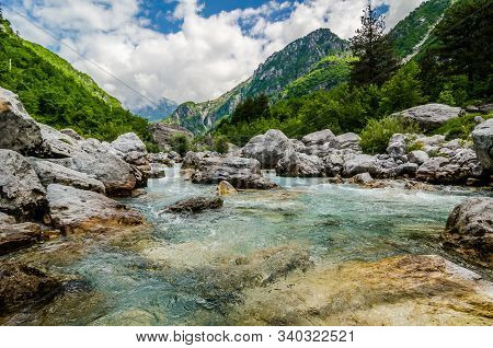 Crystal Clear River Lumi I Thethit In National Park Theth In Albania