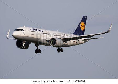 Budapest / Hungary - April 14, 2018: Lufthansa Airbus A320 Neo D-ainc Passenger Plane Arrival And La