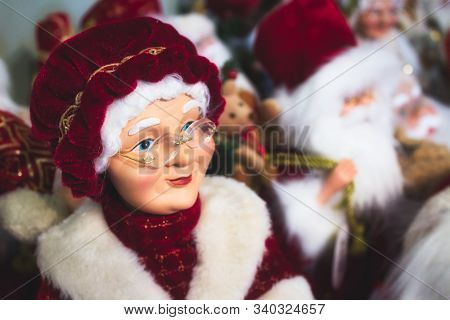 Close-up Of Mother Clause Toy Doll, Santa's Wife