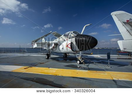 Charleston, South Carolina, United States, Novemner 2019, A6 Intruder On The Flight Deck Of The Uss