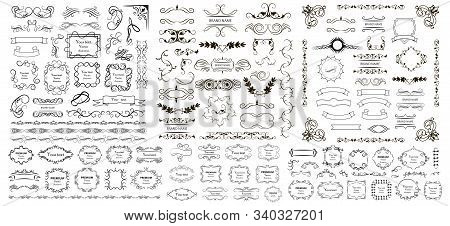 Calligraphic Design Elements . Decorative Swirls And Scrolls, Vintage Frames , Flourishes, Labels An