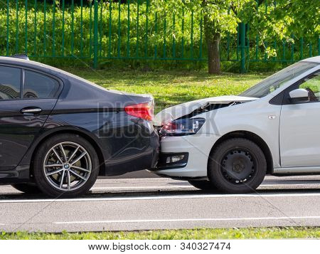 Moscow / Russia - May 06, 2019: Minor Car Accident Of Two Cars On A City Road