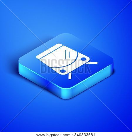 Isometric Tram And Railway Icon Isolated On Blue Background. Public Transportation Symbol. Blue Squa