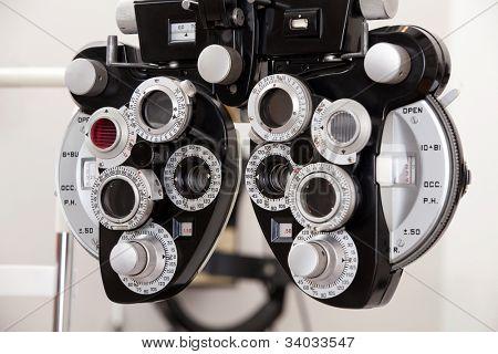 Close-up of eye exam equipment.