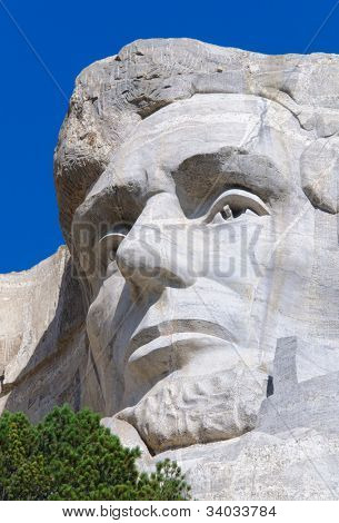 Abraham Lincoln face on Mount Rushmore National Memorial