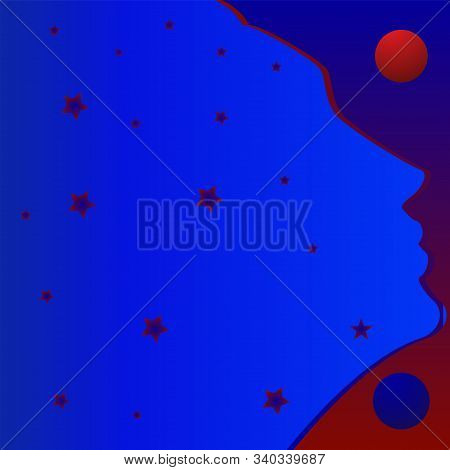 Stars On Woman Image - Art, Illustration, Vector. Magic. Occultism. Philosophy. Witchcraft. Farseer,