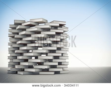 3d image of books tower