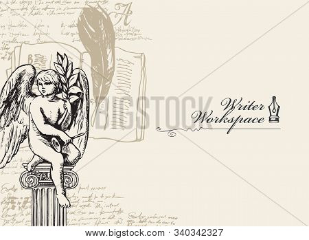 Vector Banner On A Writers Theme With Sketches And Place For Text. Vintage Illustration With Hand-dr