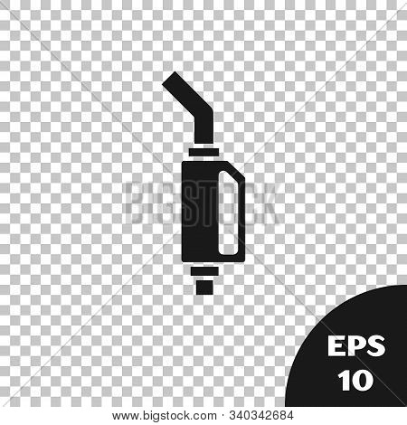 Black Gasoline Pump Nozzle Icon Isolated On Transparent Background. Fuel Pump Petrol Station. Refuel