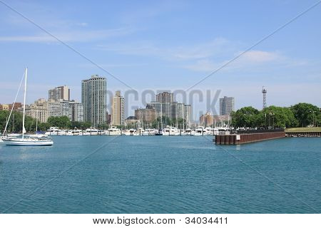 Boats On Lake Michigan, Downtown Chicago.