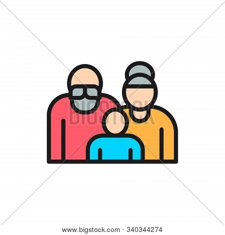 Grandparents With Grandchild, Couple Of Pensioners, Seniors Flat Color Line Icon