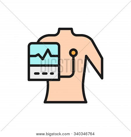 People With A Cardiogram, Heart Pacemaker Flat Color Line Icon.