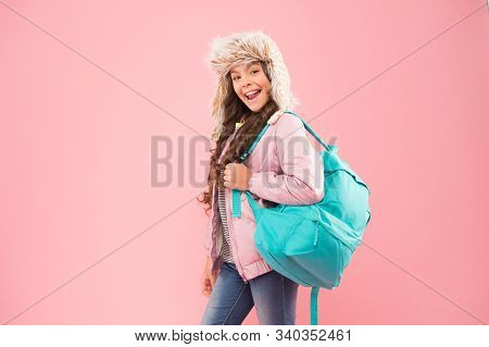 Winter Semester. Girl Fashionable Cutie Carry Backpack. Hipster Style. Modern Backpack For Daily Lif