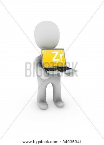 Zirconium Symbol On Screen Laptop