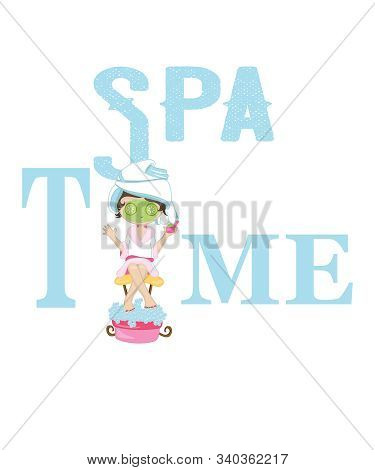 Spa Time Graphic Illustration With A Pampered Woman With A Green Beauty Skin Care Mask On Her Face,