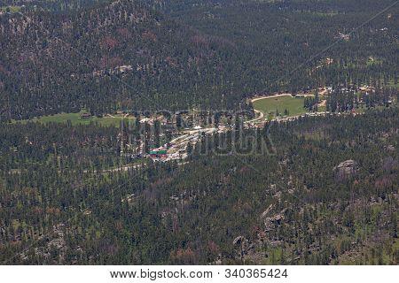 Black Hills, South Dakota - June 20, 2014: An Aerial Picture Of A Koa Camp Site Located In The Black