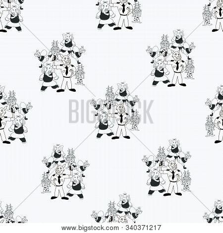 Vector Black And White Playful Bunch Of Anthropomorphic Characters Seamless Pattern Background