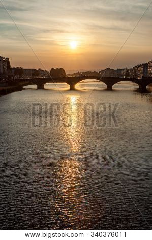 Vertical Crop Bridge On Arno River At Sunset In Florence
