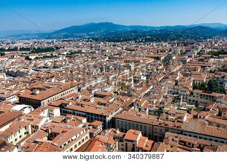 Cityscape Of Red Roofs In Florence Italy