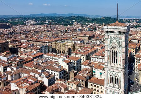 Bell Tower And Cityscape In Florence Italy