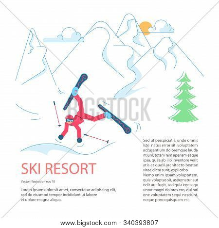 Banner Template For Mountain Ski Resort. Skier Falls From The Mountain To Snow On Winter Mountain La
