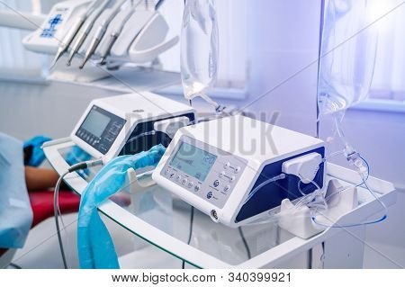 Stomatology Interior Of Dental Clinic With Professional Equipment. Dentistry, Medicine, Medical Equi