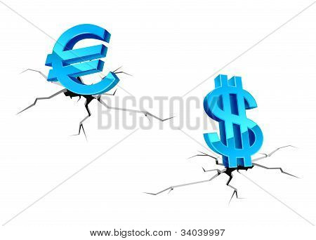 Euro And Dollar Signs Down