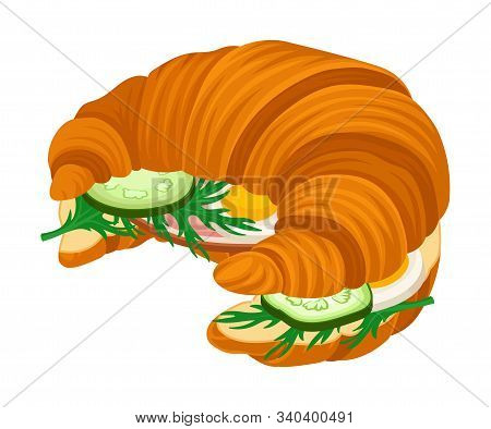 Traditional Meal Of Crispy Croissant With Stuffing Vector Illustration