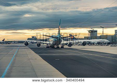 Frankfurt, Germany - Aug 16, 2017: Aircraft Is Taxiing At Frankfurr Rhein-main Airport. Frankfurt Ai