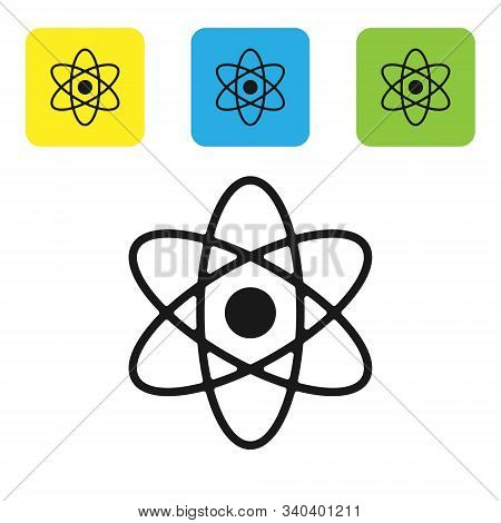 Black Atom Icon Isolated On White Background. Symbol Of Science, Education, Nuclear Physics, Scienti