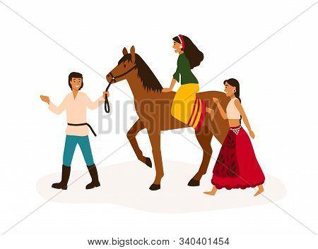 Gypsy Youth Having Fun Flat Vector Illustration. Romany Friends, Traveling Nomads Riding Horse Carto