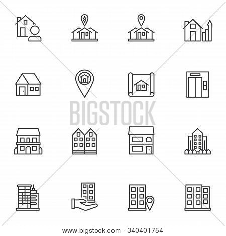 Real Estate Line Icons Set. Linear Style Symbols Collection, Outline Signs Pack. Vector Graphics. Se