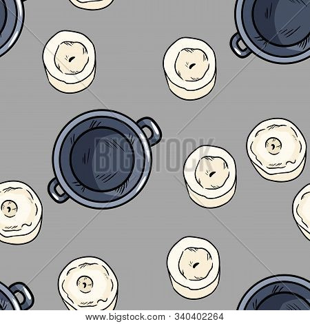 Candles And Magic Cauldrons Comic Style Doodles Top View Seamless Pattern. Cozy Wiccan Altar Boho Te