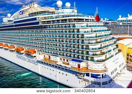Fort Lauderdale - December 1, 2019: Regal Princess Cruise Ship Docked At Seaport Port Everglades At
