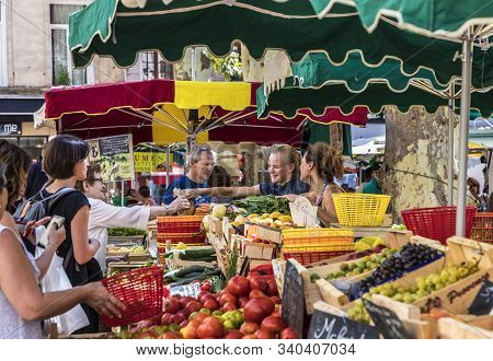 Aix En Provence, France - Aug 17, 2017: People Go Shopping At The Food Market In Aix En Provence. Th