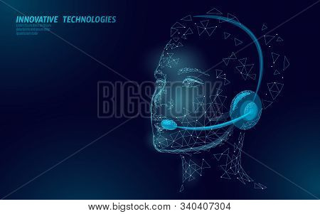 Customer Service 3d Woman Manager Concept. Ai Assistance Headphone Call Center Hotline. Client Suppo