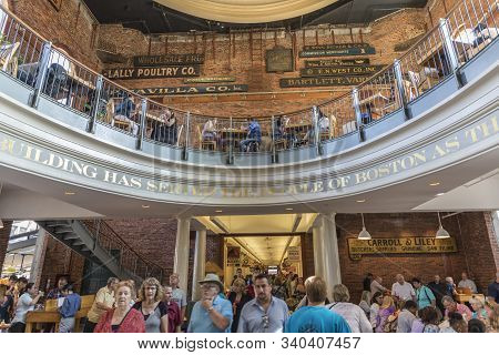 Boston, Usa - Sep 12, 2017:  People Visit Quincy Market Downtown Boston At The Freedom Trail.